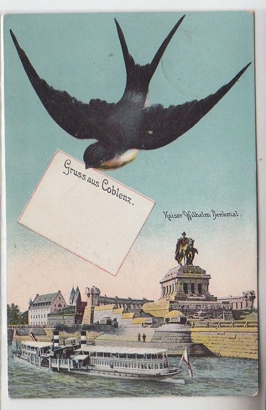 70207 Ak mit Schwalbe Gruss aus Coblenz Kaiser Wilhelm Denkmal 1911