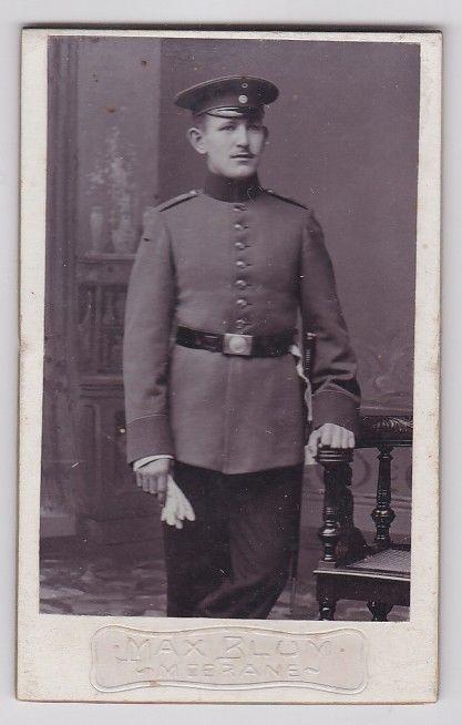 91782 Kabinett Foto Meerane Soldat mit Langem Bajonett um 1910