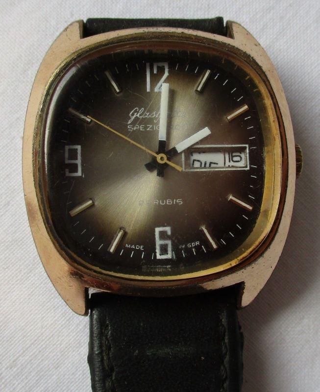 Glashütte Armband Uhr Spezichron 22 Rubin Datumsanzeige Handaufzug DDR (125721)