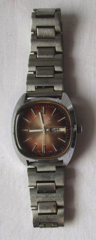 Glashütte Armband Uhr Spezichron 22 Rubin Datumsanzeige Handaufzug DDR (125701)