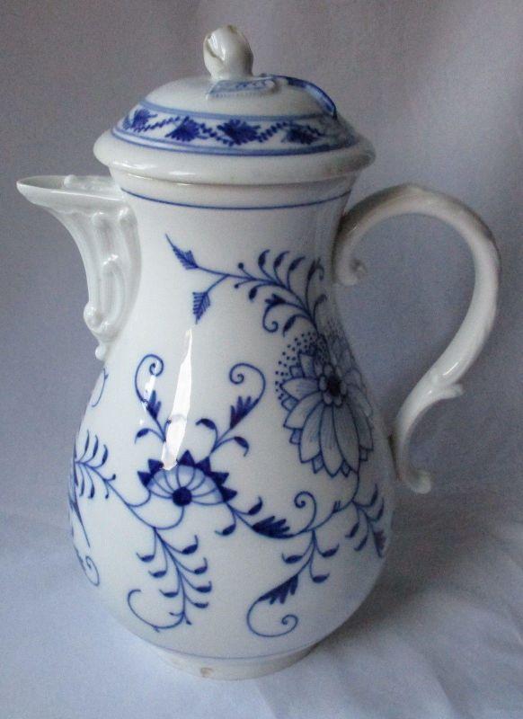 Original MEISSEN Porzellan Kaffeekanne Zwiebelmuster H 24 cm 1. Wahl (120920)
