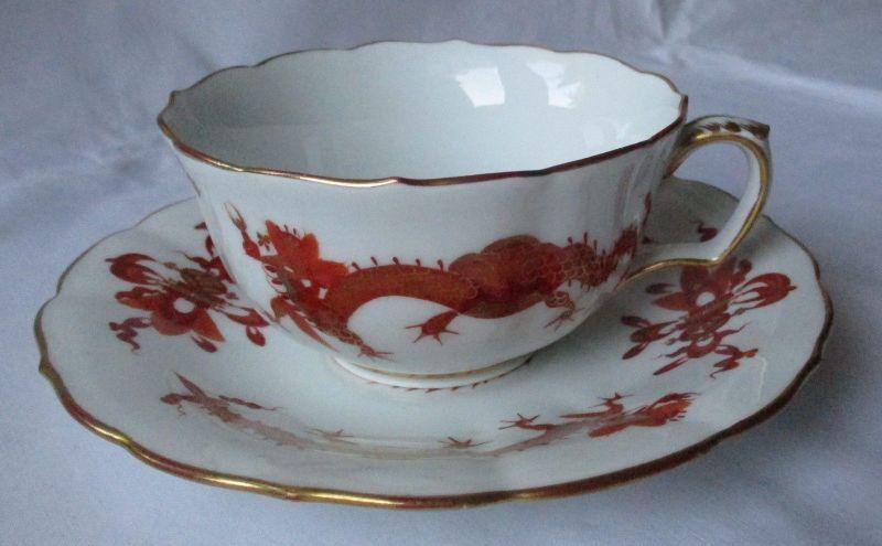 MEISSEN Porzellan Kaffeegedeck reicher Hofdrache rot Goldrand 2 tlg. (124987)