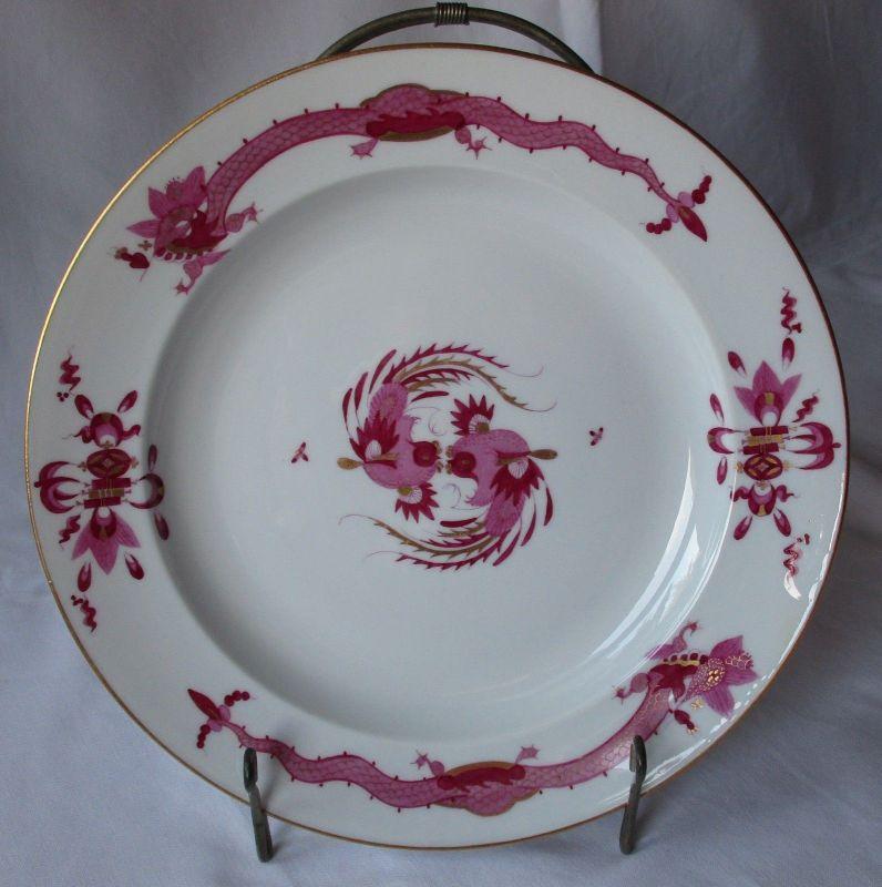 MEISSEN Porzellan Teller reicher Hofdrache purpur Goldrand Ø 19,5 cm (125822)