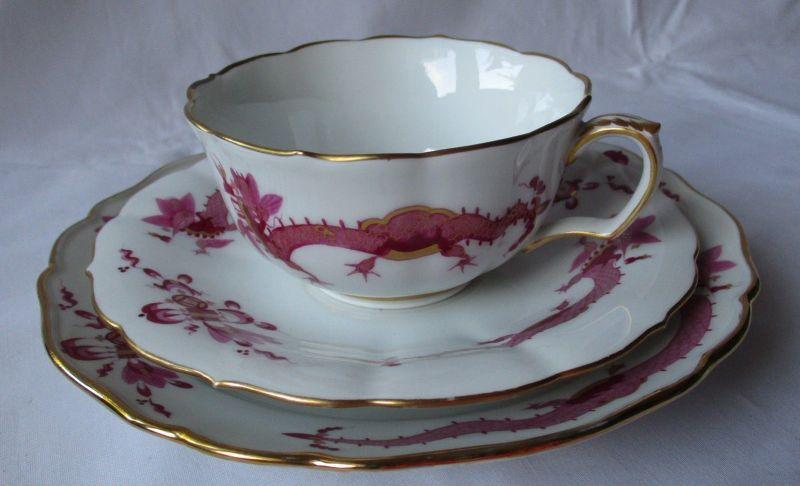 MEISSEN Porzellan Kaffeegedeck reicher Hofdrache purpur Goldrand 3 tlg. (125732)