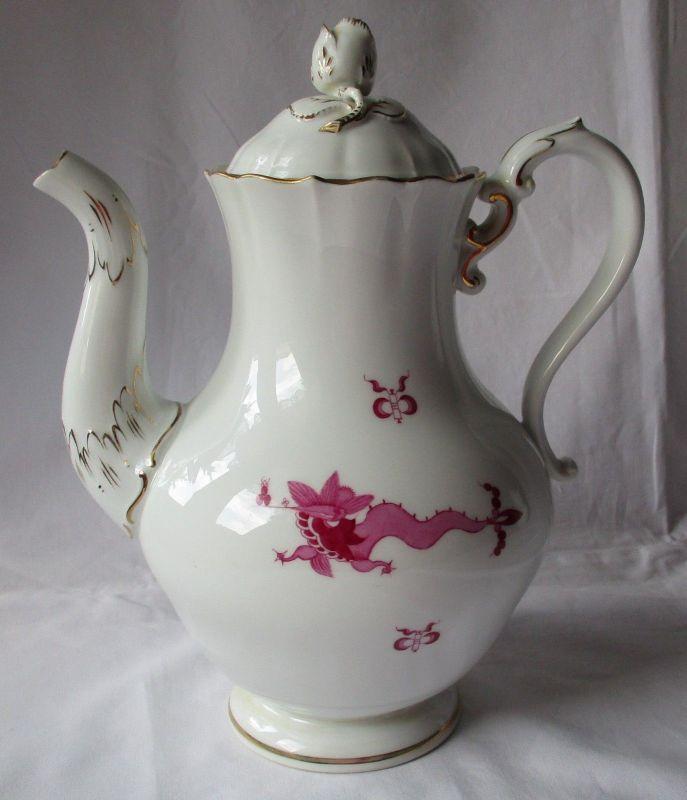 Seltene MEISSEN Porzellan Kaffeekanne reicher Hofdrache purpur Goldrand (125814)