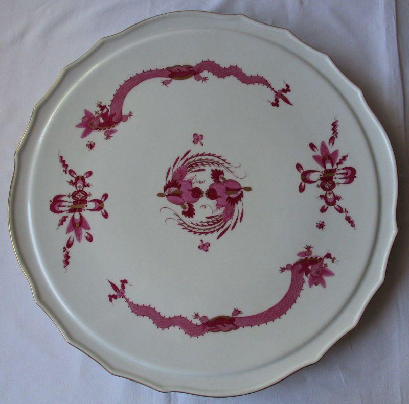 MEISSEN Porzellan Tortenplatte reicher Hofdrache purpur Goldrand 37 cm (124979)