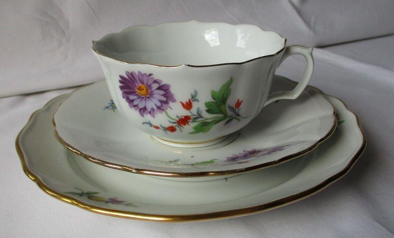 MEISSEN Porzellan Kaffeegedeck Kornblume deutsche Blume Goldrand 3 tlg. (122856)