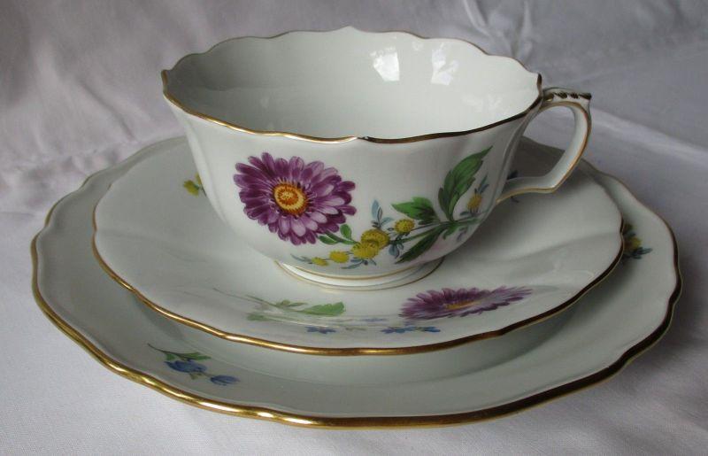 MEISSEN Porzellan Kaffeegedeck Kornblume deutsche Blume Goldrand 3 tlg. (124867)