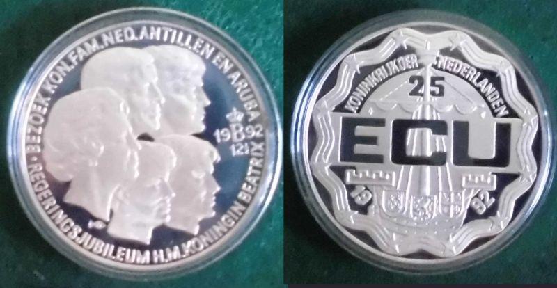 25 Ecu Silber Münzen Niederlande 1992 Regierungsjubiläum Königin