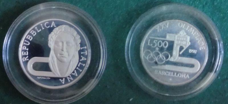 500 Lire Silber Münze Italien 1992 Olympiade Barcelona 119712 Nr