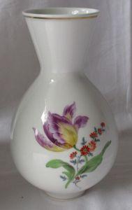 Original MEISSEN Porzellan Vase deutsche Blume Goldrand Tulpe H 20 cm (124952)