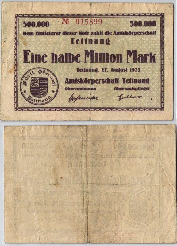 1/2 Million Mark Banknote Amtskörperschaft Tettnang 27.08.1923 (121664)