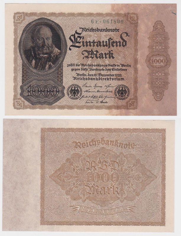 1000 Mark Banknote Deutsches Reich 15.12.1922 Rosenberg 81 (120244)