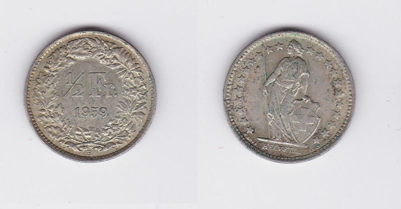 1/2 Franken Silber Münze Schweiz 1959 B (118604)