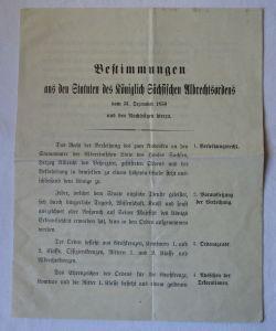 Bestimmungen aus den Statuten des Königlich sächsischen Albrechtsorden (125376)
