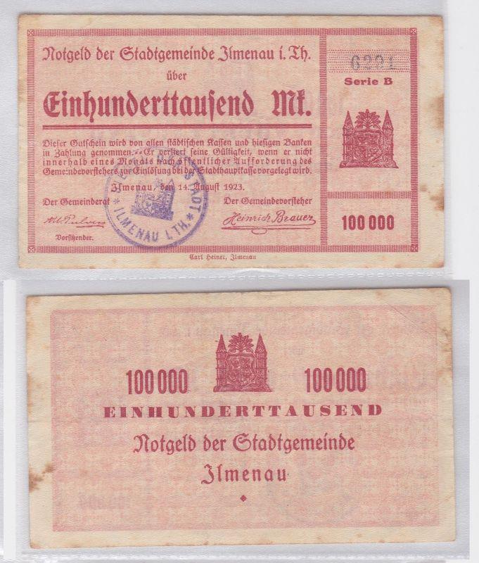 100000 Mark Banknote Stadtgemeinde Ilmenau 14.August 1923 (119481)