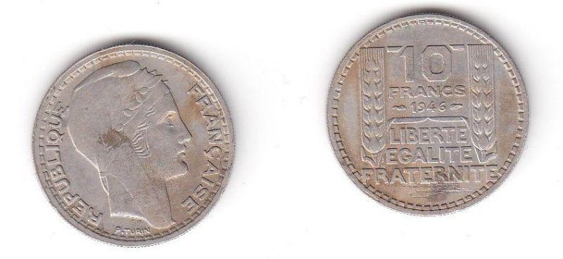 10 Franc Kupfer Nickel Münze Frankreich 1946 115215 Nr