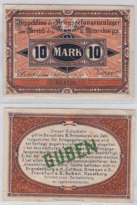 10 Mark Banknote Kriegsgefangenen Lagergeld 1917 III.Armeekorps Guben (120040)