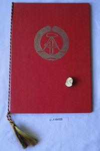 DDR Abzeichen Nadel des Nationalen Aufbauwerk 1960 plus Urkunde (119103)