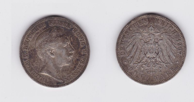 5 Mark Silbermünze Preussen Wilhelm Ii 1907 A Jäger 104 119608 Nr