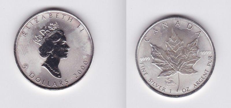 5 Dollar Silber Münze Kanada Meaple Leaf 2000 1 Unze Feinsilber