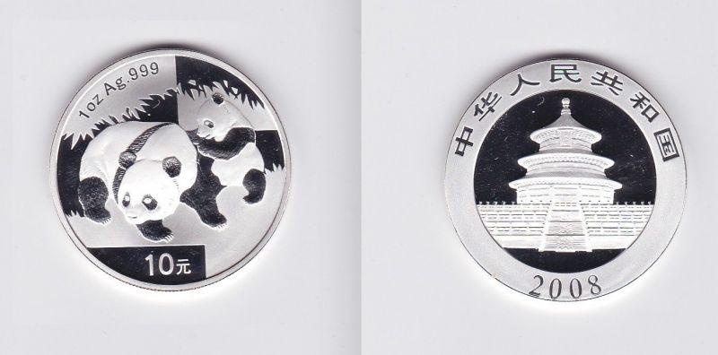 10 Yuan Silber Münze China 2008 Panda 1 Unze Silber 120045 Nr