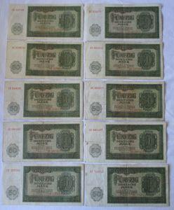 10 x 50 Mark Banknote DDR Deutsche Notenbank 1948 (125267)