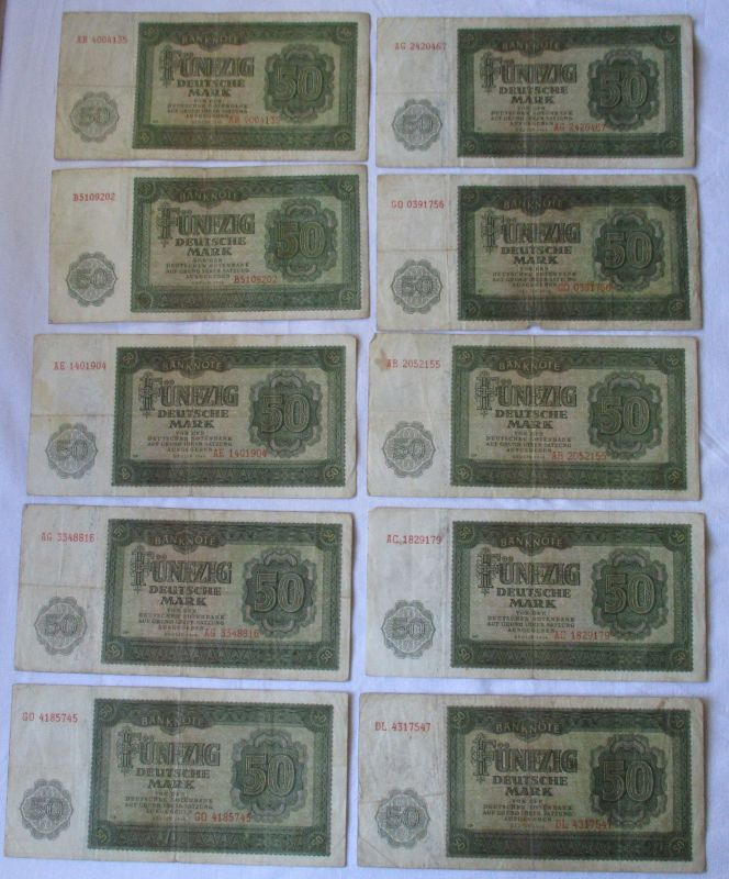 10 x 50 Mark Banknote DDR Deutsche Notenbank 1948 (125402)