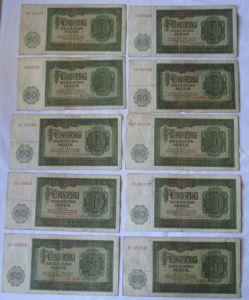 10 x 50 Mark Banknote DDR Deutsche Notenbank 1948 (125402)