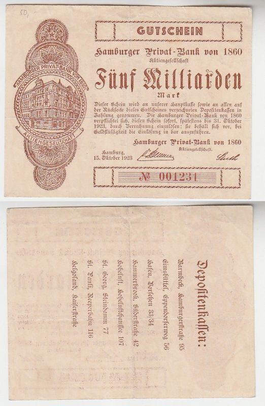 5 Milliarden Mark Banknote Hamburger Privat Bank 15.10.1923 (115845)