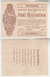 5 Milliarden Mark Banknote Hamburger Privat Bank 15.10.1923 (115845)