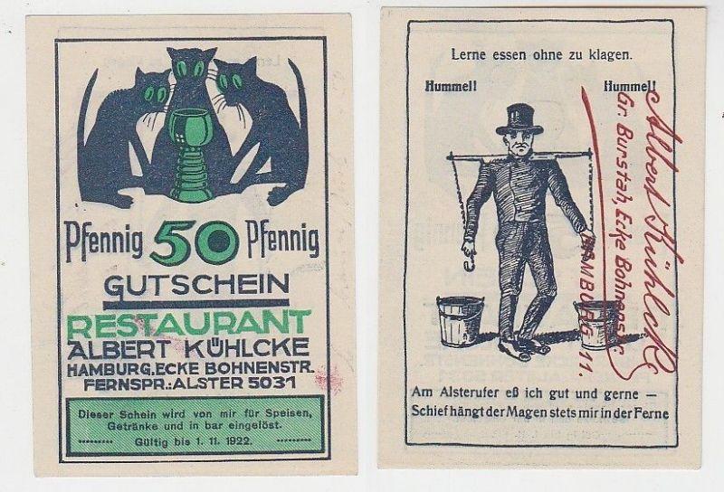 50 Pfennig Notgeld Gutschein Hamburg Restaurant Albert Kühlcke 1922 (115850)