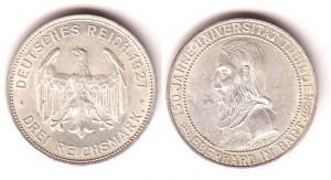 3 Mark Silber Münze Universität Tübingen 1927 (MU4413)