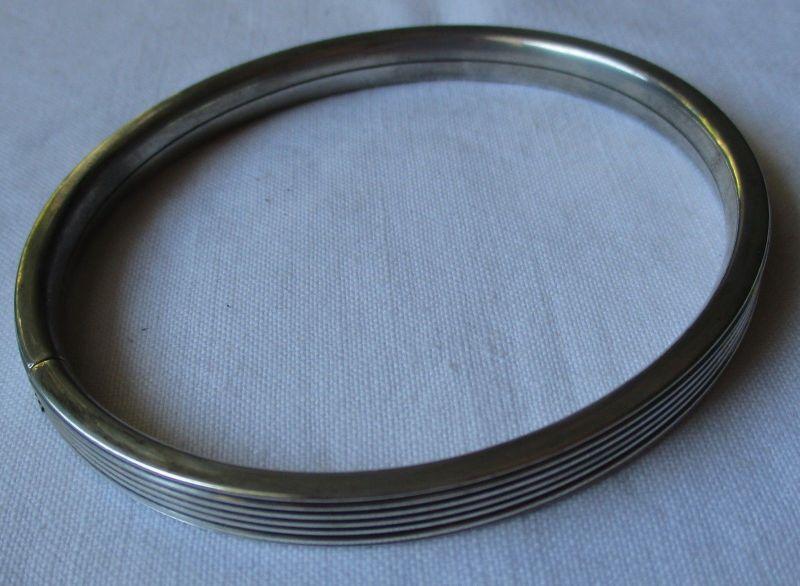 Eleganter 835er Armreifen Armband mit Riefen Randmuster (125211)