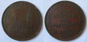 Bronzemedaille Auf die Einweihung der Schlosskirche zu Wittenberg 1892 (125765)