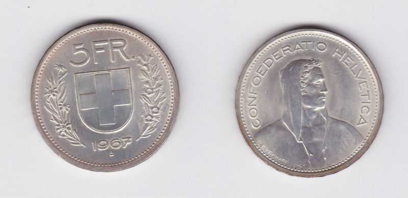 5 Franken Silber Münze Schweiz 1967 B 119648 Nr 232944222007