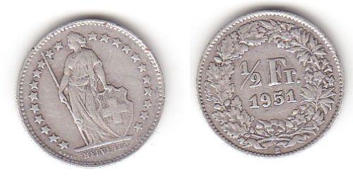 1/2 Franken Silber Münze Schweiz 1951 B (114261)