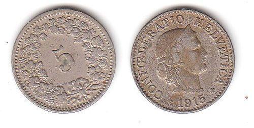 5 Rappen Nickel Münze Schweiz 1915 B (111089)