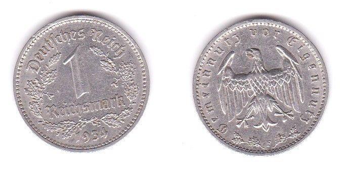 1 Mark Nickel Münze III.Reich 1934 F Jäger Nr. 354 (115241)