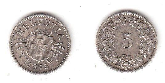 5 Rappen Nickel Münze Schweiz 1873 B (114338)