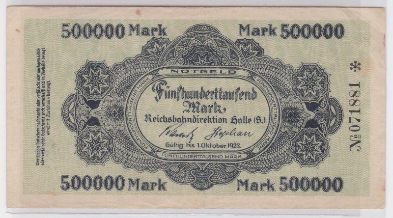 500000 Mark Banknote Halle Reichsbahndirektion 1.Oktober 1923 (116768)