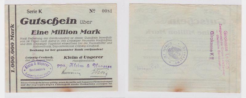 1 Mill. Mark Banknote Leipzig Leutzsch Maschinenfabrik Kleim & Ungerer (122250)