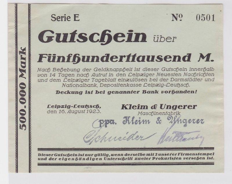 500000 Mark Banknote Leipzig Leutzsch Maschinenfabrik Kleim & Ungerer (122606)