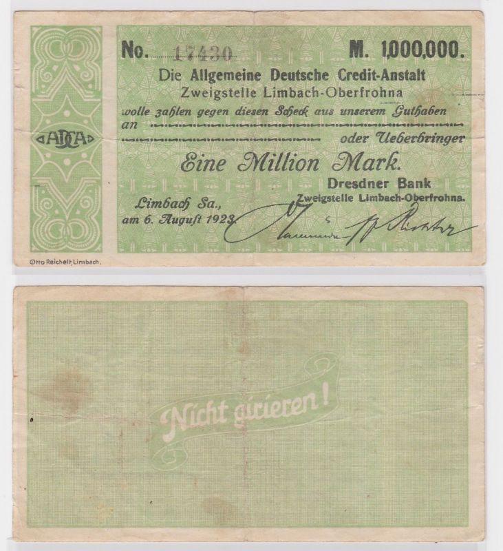 1 Million Mark Banknote allg. dt. Credit Anstalt Limbach 6.8.1923 (121838)