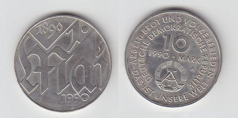 DDR Gedenk Münze 10 Mark 100 Jahre 1.Mai Feiertag 1990 (114110)
