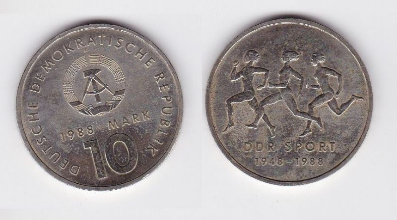 DDR Gedenk Münze 10 Mark 40 Jahre DDR Sport 1988 (119994)