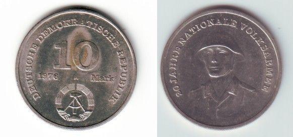 DDR Gedenk Münze 10 Mark 20 Jahre Nationale Volksarmee NVA 1976 (111383)