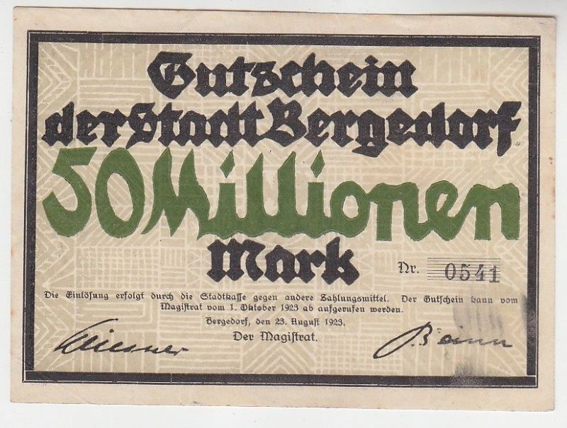 50 Millionen Mark Banknoten Stadt Bergedorf 23.8.19123 (115698)