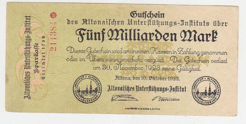 5 Milliarde Mark Banknote Altona Unterstützungs Institut 10.10.1923 (115603)