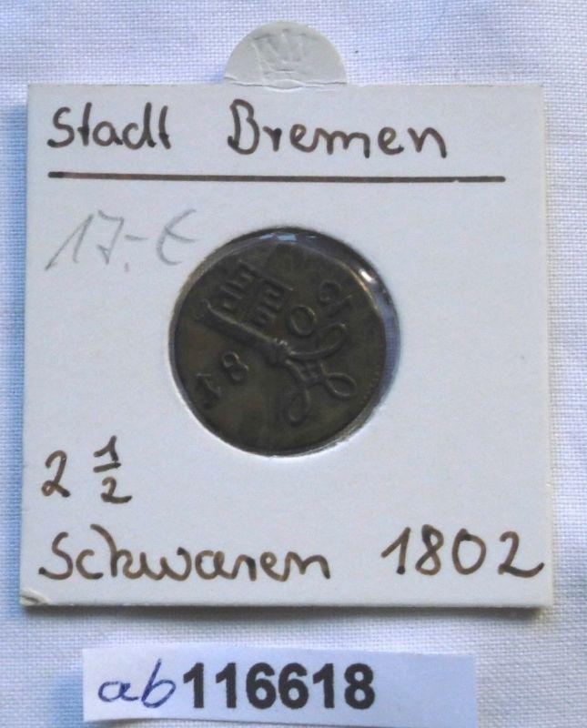 2 1/2 Schwaren Bronze Münze Stadt Bremen 1802 (116618)